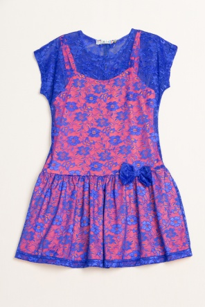 Сукні Платье `Неон-Гипюр` Сине-оранжевый фото