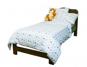 Полуторна постільна білизна Комплект постельного белья Белый/синий фото