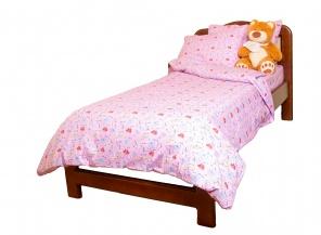 Півтораспальна постільна білизна Комплект постельного белья Розовый фото