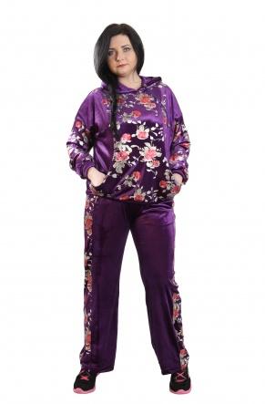 Спортивні костюми Костюм спорт.Бархат Батал  Фиолетовый фото